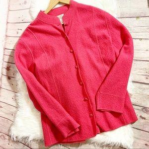 Talbot Pink 100% Wool Button Down Cardigan 1X